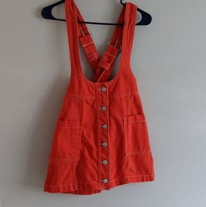 Forever 21 Bright Red Overall Mini Dress
